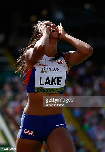 Morgan Lake of Great Britain celebrates after winning the gold medal in the women's high jump during day six of the IAAF World Junior Championships...