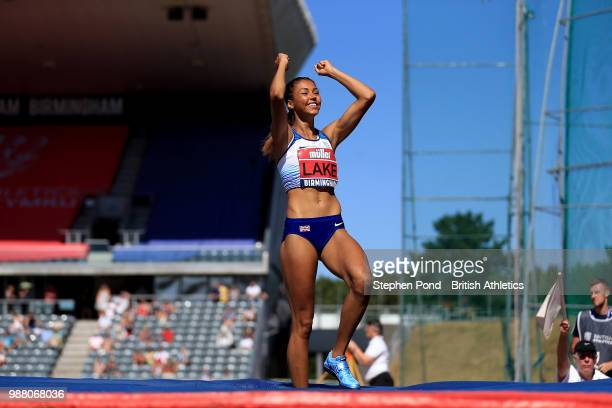 Morgan Lake of Great Britain celebrates winning the Womens High Jump Final during Day One of the Muller British Athletics Championships at the...
