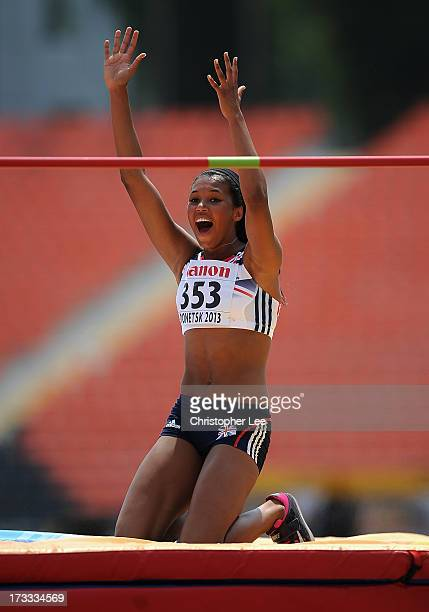 Morgan Lake of Great Britain celebrates with shock as she beats her personal best in the High Jump of the Girls Heptathlon during Day 3 of the IAAF...
