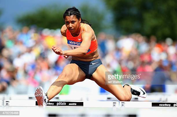 Morgan Lake of Great Britain competes in the 100 metres hurdles in the women's heptathlon during the Hypomeeting Gotzis 2015 at the Mosle Stadiom on...