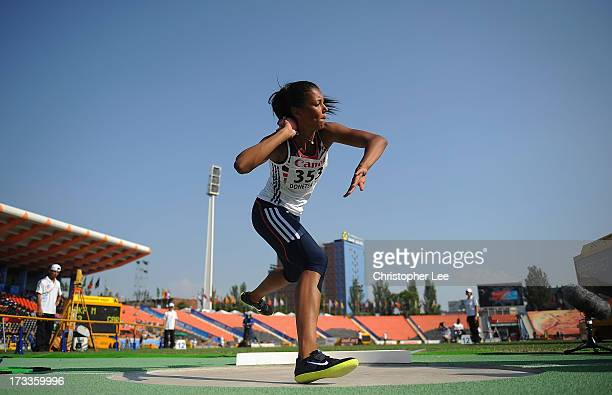 Morgan Lake of Great Britain competes in the 3kg Shot Put of the Girls Heptathlon during Day 3 of the IAAF World Youth Championships at the RSC...