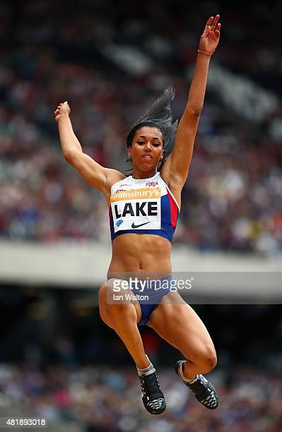 Morgan Lake of Great Britain competes in the Womens Long Jump during day two of the Sainsbury's Anniversary Games at The Stadium Queen Elizabeth...