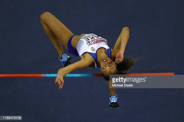 Morgan Lake of Great Britain in action during the women's high jump final during day three of the 2019 European Athletics Indoor Championships at...