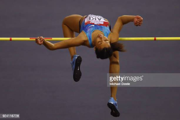 Morgan Lake of Great Britain in the women's high jump during the Muller Indoor Grand Prix at Emirates Arena on February 25 2018 in Glasgow Scotland