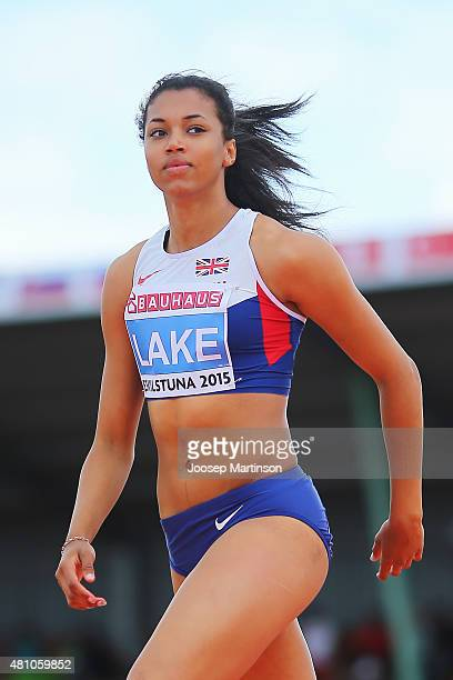 Morgan Lake of Great Britain looks on during the Women's High Jump qualification at Ekangen Arena on July 17 2015 in Eskilstuna Sweden