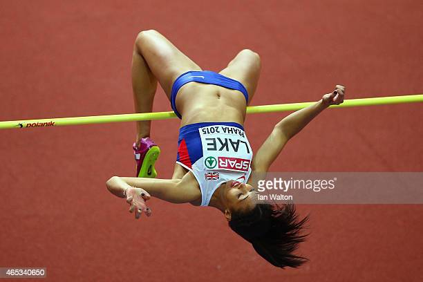 Morgan Lake of Great Britain Northen Ireland competes in the Women's Pentathlon High Jump during day one of the 2015 European Athletics Indoor...