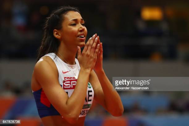 Morgan Lake of Great Britain reacts after failing on her third attempt in the Women's High Jump final on day two of the 2017 European Athletics...