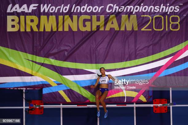 Morgan Lake of Great Britian competes in the Womens High Jump Final on Day One of the IAAF World Indoor Championships at Arena Birmingham on March 1...