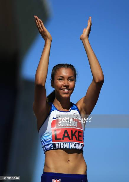 Morgan Lake of Hounslow celebrates as she takes 1st place in the Women's High Jump Final during Day One of the Muller British Athletics Championships...
