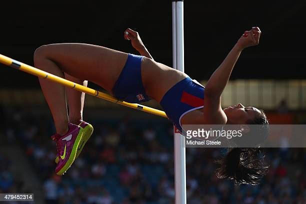 Morgan Lake of WSE Hounslow competes during the Women's High Jump during day two of the Sainsbury's British Championships at Birmingham Alexander...