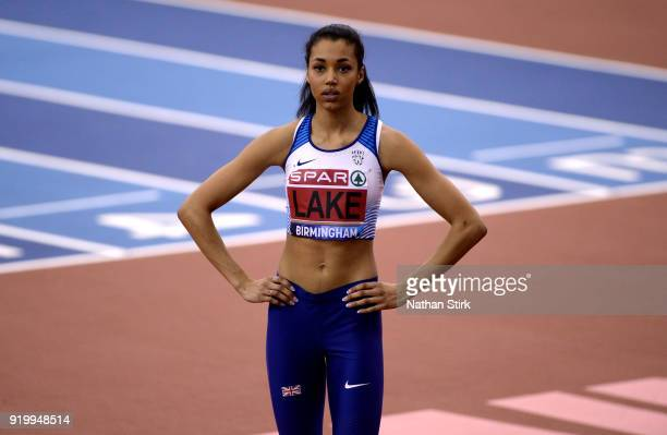 Morgan Lake of WSE Hounslow looks on while she competes in the women's high jump final during the SPAR British Athletics Indoor Championships at...