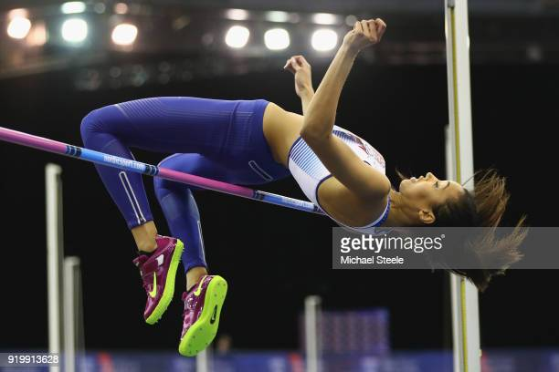Morgan Lake of WSE Hounslow on her way to victory in the women's high jump final during day two of the SPAR British Athletics Indoor Championships at...