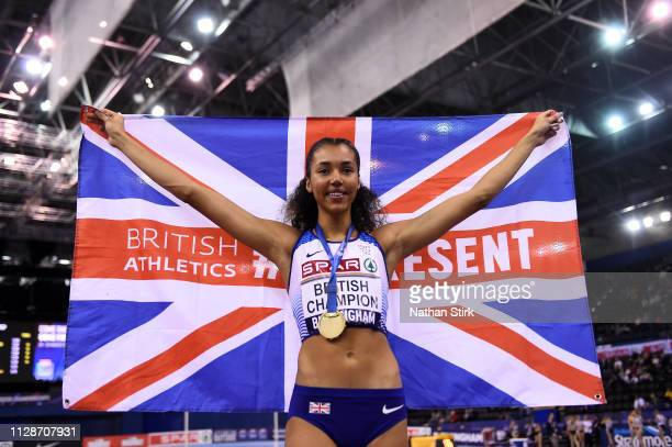 Morgan Lake poses after winning the womens high jump during Day Two of the SPAR British Athletics Indoor Championships at Arena Birmingham on...