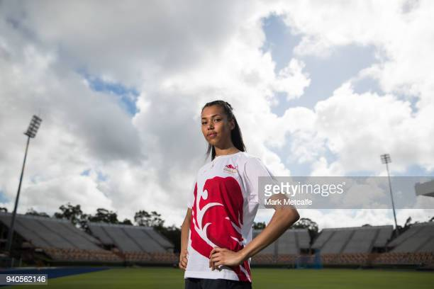 Morgan Lake poses during a Team England media opportunity ahead of the 2018 Gold Coast Commonwealth Games at Queensland Sport and Athletics Centre on...