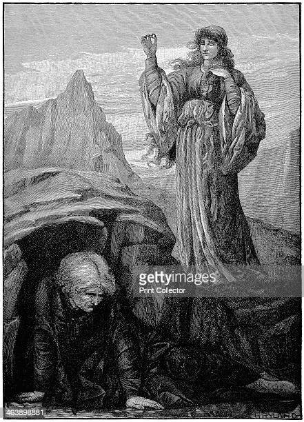 Morgan le Fay casts spell on Merlin Engraving after Henry Ryland English painter and illustrator