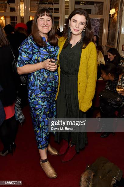 Morgan Lloyd Malcolm and Aisling Bea attend a special performance of 'Emilia' celebrating trailblazing women at Vaudeville Theatre on March 19 2019...