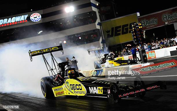 Morgan Lucas drives the Geico Powersports/Lucas Oil Top Fuel dragster at zMax Dragway on September 17 2010 in Concord North Carolina