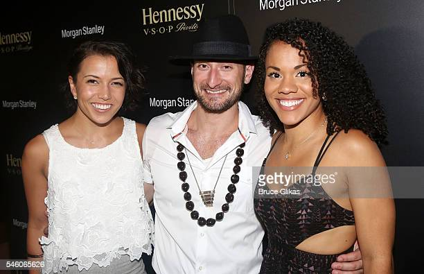 Morgan Marcell Roddy Kennedy and Alysha Deslorieux pose at the after party for LinManue Miranda final show in 'Hamilton' on Broadway at The R Lounge...