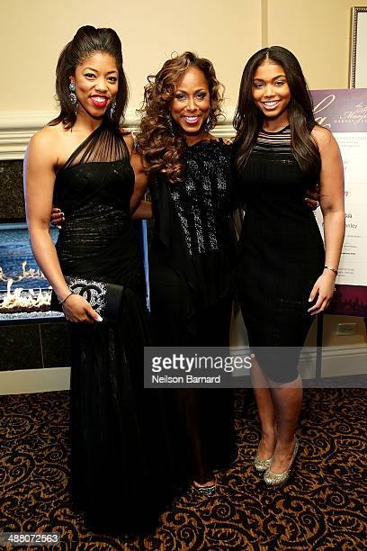 Morgan Marjorie and Lori Harvey attend the 2014 Steve Marjorie Harvey Foundation Gala presented by CocaCola VIP Reception at the Hilton Chicago on...