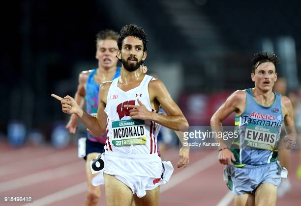 Morgan McDonald celebrates after winning the Men's 5000m event during the Australian Athletics Championships Nomination Trials at Carrara Stadium on...