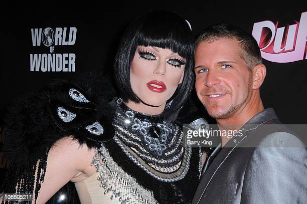 Morgan McMichaels and guest arrive at RuPaul's Drag Race season 3 premiere held at RAGE Nightclub on January18 2011 in West Hollywood California