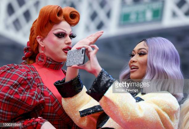 Morgan McMichaels and Jujubee attend RuPaul's DragCon UK presented by World Of Wonder at Olympia London on January 18 2020 in London England