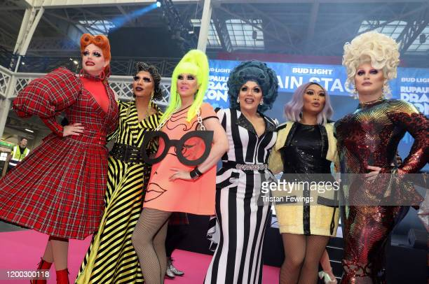 Morgan McMichaels Serena ChaCha Charlie Hides Mrs Kasha Davis Jujubee and The Vivienne attend RuPaul's DragCon UK presented by World Of Wonder at...