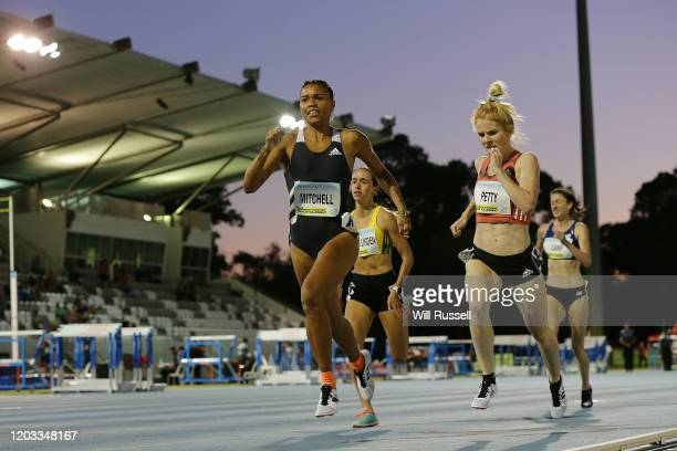 Morgan Mitchell and Angie Petty of NZL compete in the Women's 800m during the 2020 Jandakot Airport Track Classic at WA Athletics Stadium on February...