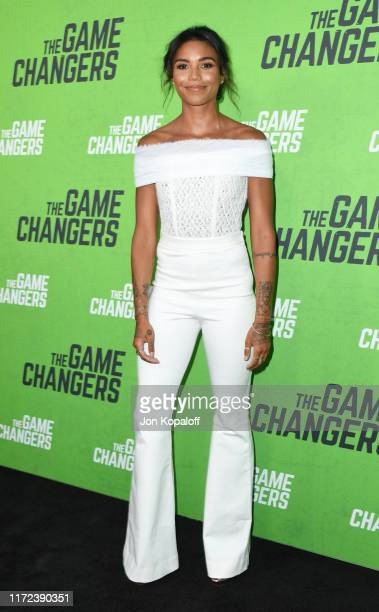 "Morgan Mitchell attends the LA Premiere Of ""The Game Changers"" at ArcLight Hollywood on September 04, 2019 in Hollywood, California."