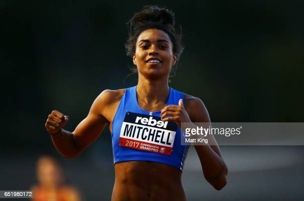 Morgan Mitchell of Australia celebrates winning the Women 400m A Final during the SUMMERofATHS Grand Prix on March 11 2017 in Canberra Australia