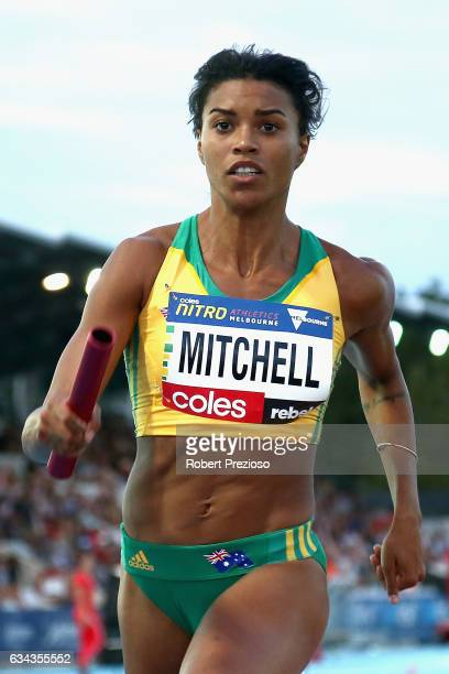 Morgan Mitchell of Australia competes in mixed 2x300 metre relay during the 2017 Nitro Athletics Series at Lakeside Stadium on February 9, 2017 in...