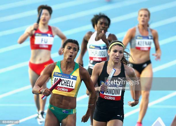 Morgan Mitchell of Australia competes in mixed 2x300 metre relay during the Melbourne Nitro Athletics Series at Lakeside Stadium on February 11 2017...