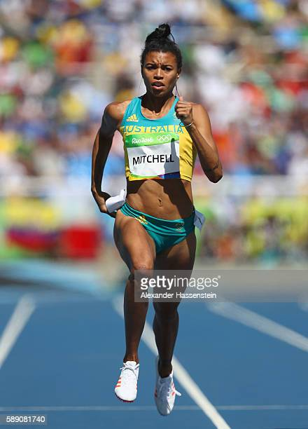 Morgan Mitchell of Australia competes in round one of the Women's 400m on Day 8 of the Rio 2016 Olympic Games at the Olympic Stadium on August 13...
