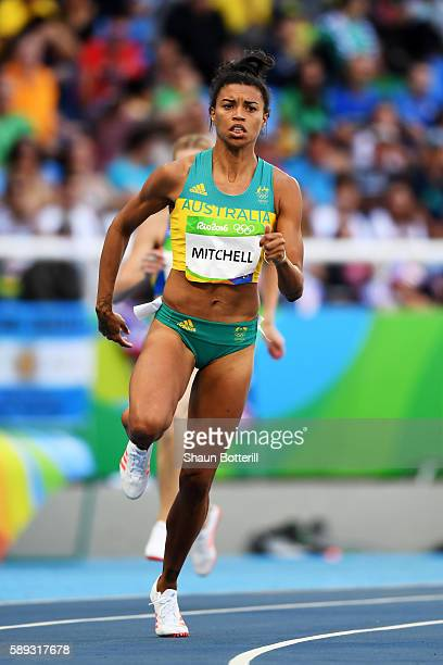 Morgan Mitchell of Australia competes in round one of the Women's 400m on Day 8 of the Rio 2016 Olympic Games at the Olympic Stadium on August 13,...