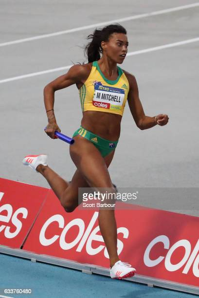 Morgan Mitchell of Australia competes in the Mixed 2x300 Metre Relay during Nitro Athletics at Lakeside Stadium on February 4 2017 in Melbourne...
