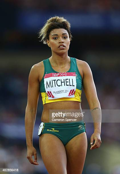 Morgan Mitchell of Australia competes in the Women's 400 metres semifinal at Hampden Park Stadium during day five of the Glasgow 2014 Commonwealth...