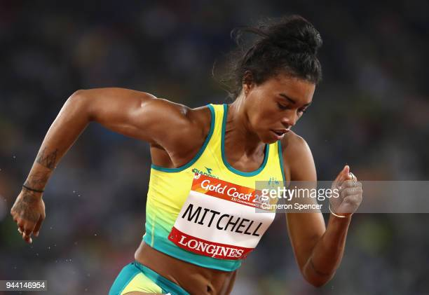 Morgan Mitchell of Australia competes in the Women's 400 metres semi finals during the Athletics on day six of the Gold Coast 2018 Commonwealth Games...