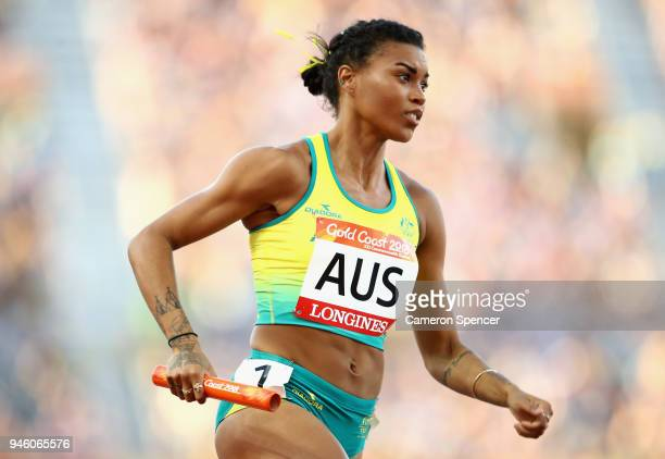 Morgan Mitchell of Australia competes in the Women's 4x400 metres relay final during athletics on day 10 of the Gold Coast 2018 Commonwealth Games at...