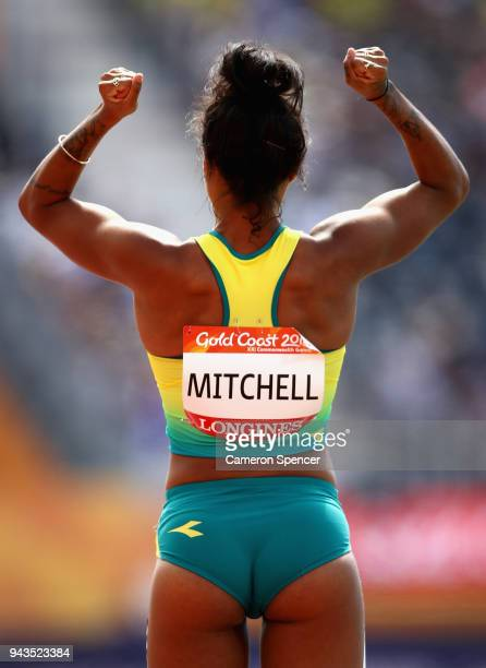Morgan Mitchell of Australia looks on as she prepares to compete in the Women's 400 metres heats during the Athletics on day five of the Gold Coast...