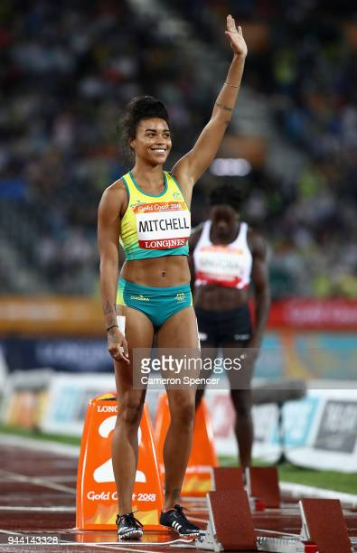 Morgan Mitchell of Australia looks on prior to the Women's 400 metres semi finals during the Athletics on day six of the Gold Coast 2018 Commonwealth...