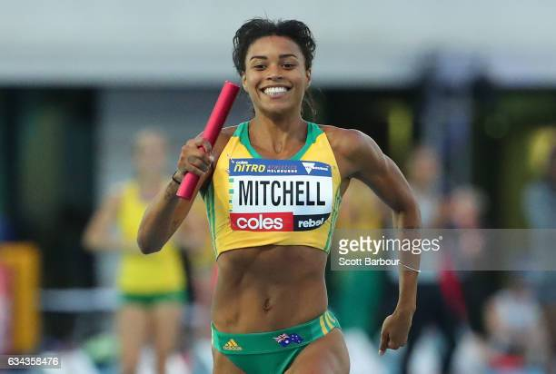 Morgan Mitchell of Australia wins the Mixed 2x300 Metre Relay during the 2017 Nitro Athletics Series at Lakeside Stadium on February 9, 2017 in...