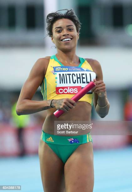 Morgan Mitchell of Australia wins the Mixed 2x300 Metre Relay during the 2017 Nitro Athletics Series at Lakeside Stadium on February 9 2017 in...
