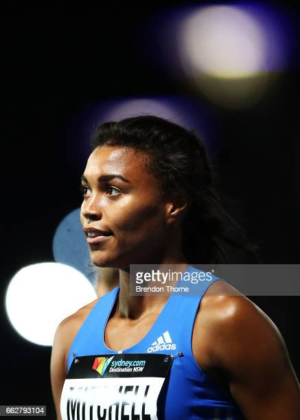 Morgan Mitchell of Victoria looks on after winning the Women's 400 Metre Open Final during day seven of the Australian Athletics Championships at...
