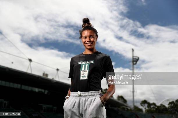 Morgan Mitchell poses during the Athletics Australia media session at Sydney Olympic Park Athletic Centre on February 22, 2019 in Sydney, Australia.