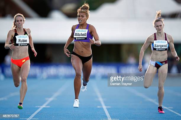 Morgan Mitchell runs in the 400m during the 92nd Australian Athletics Championships at Olympic Park on April 5 2014 in Melbourne Australia