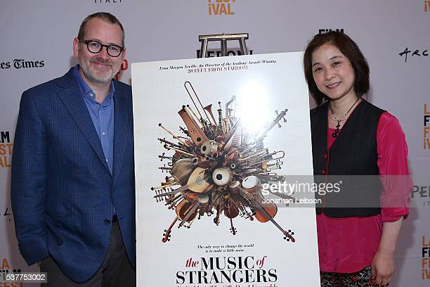 Morgan Neville and Wu Man attend the 2016 Los Angeles Film Festival The Music of Strangers and James Turrell You Who Look Premiere at LACMA on June 2...