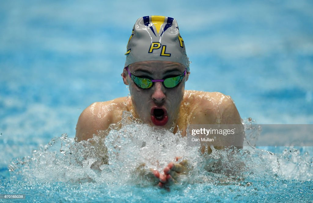 Morgan Newman of Great Britain competes in the Mens Open 50m Breaststroke Heats on day two of the 2017 British Swimming Championships at Ponds Forge on April 19, 2017 in Sheffield, England.