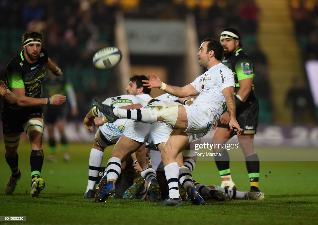 Morgan Parra of ASM Clermont Auvergne kicks the ball during the European Rugby Champions Cup match between Northampton Saints and ASM Clermont Auvergne at Franklin's Gardens on January 13, 2018 in Northampton, England.