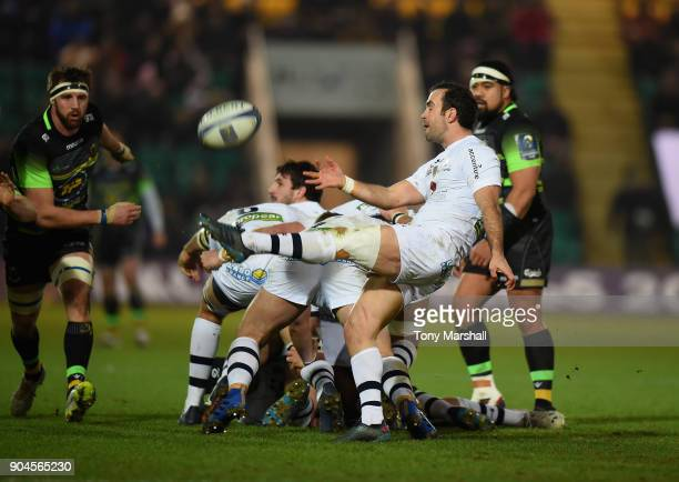 Morgan Parra of ASM Clermont Auvergne kicks the ball during the European Rugby Champions Cup match between Northampton Saints and ASM Clermont...