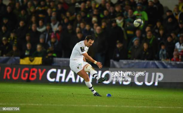 Morgan Parra of ASM Clermont Auvergne takes a penalty kick during the European Rugby Champions Cup match between Northampton Saints and ASM Clermont...